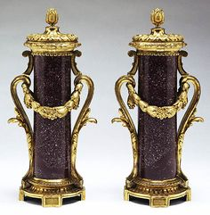 Pair of Mounted Vases (Getty Museum)Unknown French, Paris, about 1770 Porphyry and gilt bronze mounts Urn Vase, Getty Museum, Granite Stone, French Empire, Vase Centerpieces, Marble Stones, Objet D'art, Fine Porcelain, French Antiques