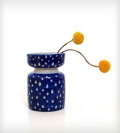 Blue Carved Out Dot Ceramic Vase | Home Decor | Jen E | Scoutmob Shoppe | Product Detail