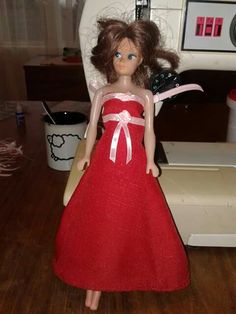 Rooi barbie rok met wit rose op
