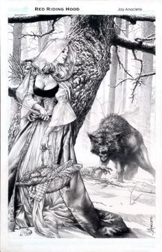 Red Riding Hood by Jay Anacleto - One spot left for SDCC commission List Comic Art Anime Art Fantasy, Dark Fantasy Art, Fantasy Artwork, Dark Art, Werewolf Art, Comic Kunst, Illustration, Fantastic Art, Horror Art