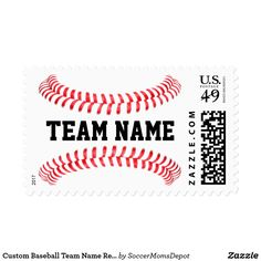 Custom Baseball Team Name Recruiting or Camp Stamp - Great for baseball coaches sending recruiting letters or invitations to baseball camps, tournaments, parties or other team events! #baseball #stamp #postage #recruiting #coach #camp #tournament #baseballstamp
