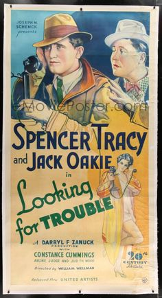 1w051 LOOKING FOR TROUBLE linen 3sh  34 art of Spencer Tracy c63f6d3e9fc