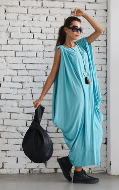 Baby Blue Maxi Dress / Mint Loose Kaftan / by Metamorphoza on Etsy