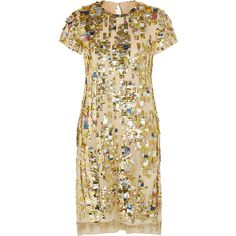 Reed Krakoff Embellished woven-cotton dress (€790) ❤ liked on Polyvore featuring dresses, gold, loose fit dress, embellished dress, loose fitting dresses, reed krakoff dress and loose dresses