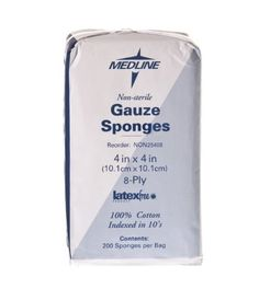 Non-Sterile Cotton Gauze Sponge, 8-ply, 4x4 (Pack of 200) by Medline. $9.11. homehealthcare. More.... These USP Type VII cotton sponges are ideal for wound dressings, wound packing and general wound care. Our strictly controlled manufacturing process assures clean, debris-free packing with folded edges to prevent unraveling. Non-Sterile 4 Inches x 4 Inches 8-ply.. Save 19%!