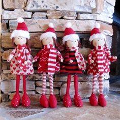 Lutines de Noël en tissu rouge et blanc