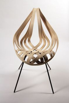 Saji Chair by Laura Kishimoto.  Ash Veneer, mild steel.  Fall 2012