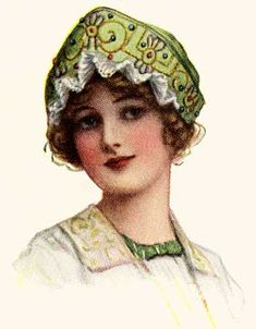 Vintage Woman's Hat Illustrations. Bead and Lace Trimmed Bonnet
