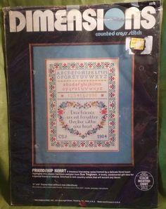 Dimensions Friendship Heart Sampler Counted Cross Stitch Kit 3572 1984 Valentine #Dimensions #Sampler