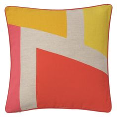BEX Pink and yellow printed cotton and linen cushion 50 x 50cm | Buy now at Habitat UK