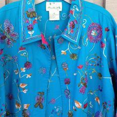 Quacker Factory Jacket Beaded Embroidered Butterflies & Flowers Women's Medium M #QuackerFactory #JeanJacket