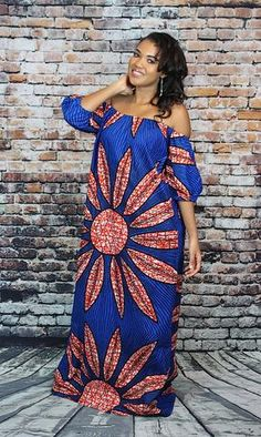 Bina Off-Shoulder Maxi Dress - Blue African Print African Fashion Designers, African Fashion Ankara, Latest African Fashion Dresses, African Print Fashion, Africa Fashion, African Wear, African Attire, African Women, African Style