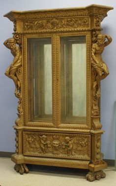 Large Walnut Italian Baroque style painted display case : Lot 12531