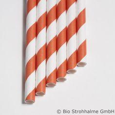 Papiertrinkhalm Streifen orange