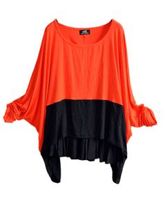 Orange and Black Color Block Batwing T-shirt
