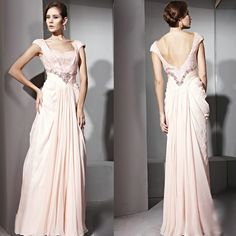 Cute Baby Pink Chiffon Sequin Backless Ball Gown Evening Dresses SKU-122353