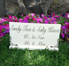 Sandy Toes and Salty Kisses We Are Now Mr. and Mrs. - Wedding Signs - Beach Wedding Sign - Photo Prop