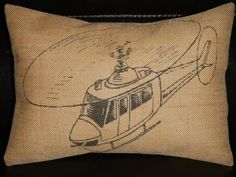 Vintage helicopter Burlap Decorative Pillow by PolkadotApple, $22.95