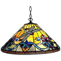 $124.99, Handcrafted using the same techniques developed by Louis Comfort Tiffany in the early 1900s, contains hand-cut pieces of bent glass and antique bronze finish. http://www.overstock.com/Home-Garden/Dragonfly-Antique-Bronze-Hanging-Pendant/5266689/product.html?CID=214117