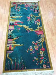 """2'10"""" x 6' Antique Chinese Art Deco Oriental Rug - 1920s - Hand Made - 100% Wool #Chinese"""