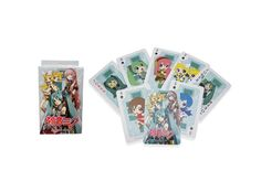 Playing cards with diffenet vocaloid idols (Hatsune Miku, Kagamine Ren + Lin, Megurine Luka, Kaito, Meiko etc). Deck of 54 glossy paper cards with dimensions of 6 x 9 cm, with printed designs on both sides, by Great Eastern.
