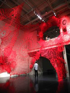 Oversized Crocheted Doilies by Ashley V Blalock Climb Up Trees and Gallery Walls   Colossal