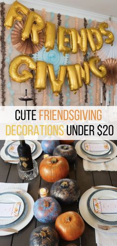 Looking for cute Friendsgiving decorations for your Friendsgiving celebration this year? Here are some of the best cute and cheap Friendsgiving decorations to make your party a hit! Friends Thanksgiving, Thanksgiving Parties, Thanksgiving Crafts, Cheap Thanksgiving Decorations, Holiday Decorations, Thanksgiving Table Settings, Vegan, Holiday Recipes, Easy