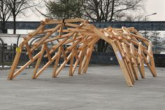 Reciprocal frame structure by Annette Spiro at ETH Zurich