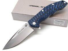 REAL STEEL Black Blue T101 Straight 14C28N Folding DROP POINT Pocket Knife! 7524 | eBay