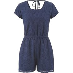 maurices Lace Romper With Tie Back featuring polyvore fashion clothing jumpsuits rompers playsuits dresses jumpsuit blue short sleeve romper wrap jumpsuit playsuit jumpsuit lace rompers jump suit