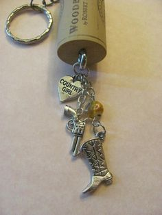 Redneck Girl keychain.  Cowboy boot country heart by CorkChains