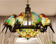 Makenier, Stained Glass, Eight Parrot Chandelier