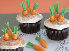 Rabbits Easter Cupcakes by Stormy, will be  perfect for an Easter party or served as dessert after dinner, and include the kids by getting them to help you make this delightful #Easter #recipe found at justapinch.com.