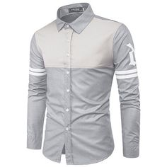 Turndown Collar Color Block Panel Stripe Graphic Shirt - Gray - Size M Graphic Long Sleeve Shirts, Graphic Shirts, Slim Fit Casual Shirts, Men Casual, Mens Clothing Sale, Men's Clothing, African Wear Styles For Men, Mens Designer Shirts, Collar Shirts