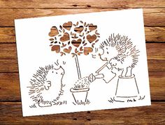 Hedgehog, Tree Love, SVG cutting files and PDF paper cutting template instant download. I can email you with another format of cutting files or change the colouring. COMMERCIAL USE. PERSONAL USE. Papercut template has been made as A4 paper format, but can be scaled to suit your own