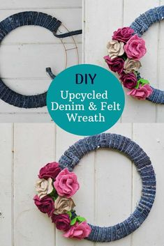 This gorgeous denim wreath for all seasons is simply made from leftover scraps from other projects. Felt scraps for the roses and jeans seams for the base.  #diywreath Denim Crafts, Upcycled Crafts, Felt Crafts, Diy And Crafts, Repurposed, Upcycled Clothing, Felt Wreath, Diy Wreath, Wreath Ideas