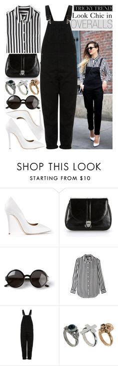 """""""Tricky Trend: Chic with Overalls"""" by putricp ❤ liked on Polyvore featuring Giuseppe Zanotti, Ethel, The Row, Equipment, Topshop and River Island"""