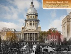 Springfield, IL. State Capitol Building then and now. Courtesy of Springfield Rewind.