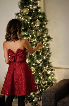 red bow dress, holiday dress, morning lavender dress, lace and locks, petite fashion blogger, fit and flare red dress