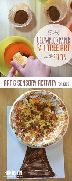 Make a cute, sensory smelling crumpled paper fall tree with the kids paper Super Easy Crumpled Paper Fall Tree Art with Spices Fall Activities For Toddlers, Infant Activities, Art Activities, Fall Preschool, Leaf Crafts, Fall Crafts, Plate Crafts, Diy Crafts, Homemade Paint