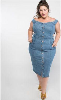 a744decc67c Cool plus size clothes Premme Denim Midi Dress