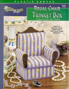 Regal Chair Trinket Box Plastic Canvas by needlecraftsupershop, $4.50