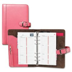 "Day-Timer Pink Ribbon Leather Starter Set - 3.75"" x 6.75"" - 7 x Ring Fastener - 1"" Capacity - Leather - Pink - 1 Each Day. Timer Pink Ribbon Leather Starter Set. 3.75"" x 6.75"". 7 x Ring Fastener."