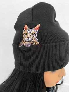 9a296eeec60 Excited to share this item from my shop  Kitty cat winter hat Cat beanie  Embroidered cat patch looks like you have your kitty living in you hat  black unisex ...