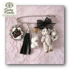 Broche fiole meringues et Teddy vichy chez créations cristalline.fr