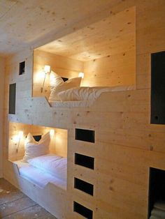 I seriously love the idea of bunk beds built into the wall