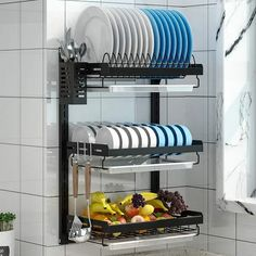 Ten Creative Tips And Tools For Creating More Room In Your Kitchen Storage Rack, Storage Shelves, Storage Baskets, Shelf, Kitchen Tools And Gadgets, Kitchen Supplies, Wall Mounted Dish Rack, Fruit And Vegetable Storage, Cutlery Holder