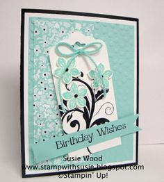 Stampin' Up!- 'Petite Petals' with coordinating punch, plus Scalloped Top Tag punch & Sale-a-bration Sweet Sorbet Designer Paper.