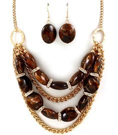 Brown Swirl Beads Crystal Accents Gold Tone Chain Necklace Earring Set Chunky #FashionJewelry