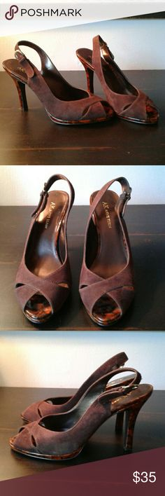 💕GORGEOUS💕 Anne Klein Heels I've listed a beautiful pair of Anne Klein heels. They are chocolate suede.  Open-toed. Fantastic base and heel! Never worn!  Size 8M. Anne Klein Shoes Heels